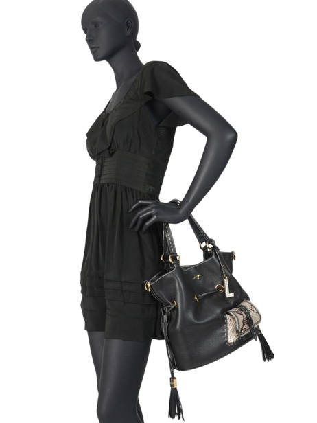 Medium Leather Bucket Bag Premier Flirt Python Lancel Black premier flirt A10529 other view 5