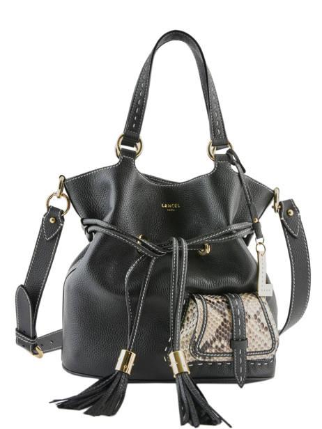 Medium Leather Bucket Bag Premier Flirt Python Lancel Black premier flirt A10529 other view 3