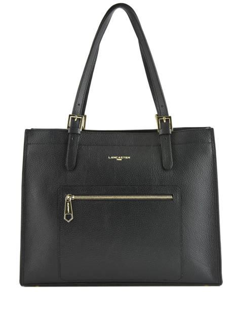 Leather Tote Bag Foulonné Double Lancaster Black foulonne double 470-24