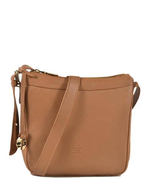 Leather Crossbody Bag Caviar Crinkles Brown 80053