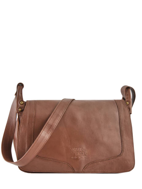Leather Crossbody Bag Seventies Basilic pepper Brown seventies BSEV02
