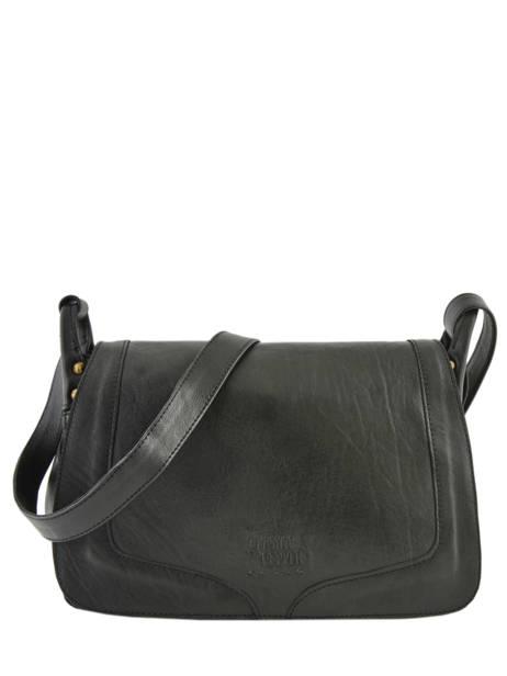 Leather Crossbody Bag Seventies Basilic pepper Black seventies BSEV02