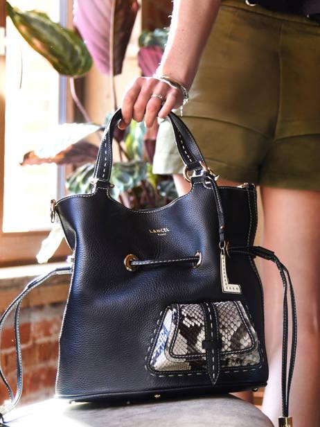 Medium Leather Bucket Bag Premier Flirt Python Lancel Black premier flirt A10529 other view 7