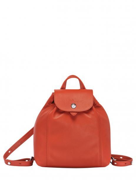 Longchamp Le pliage cuir Sac à dos Orange