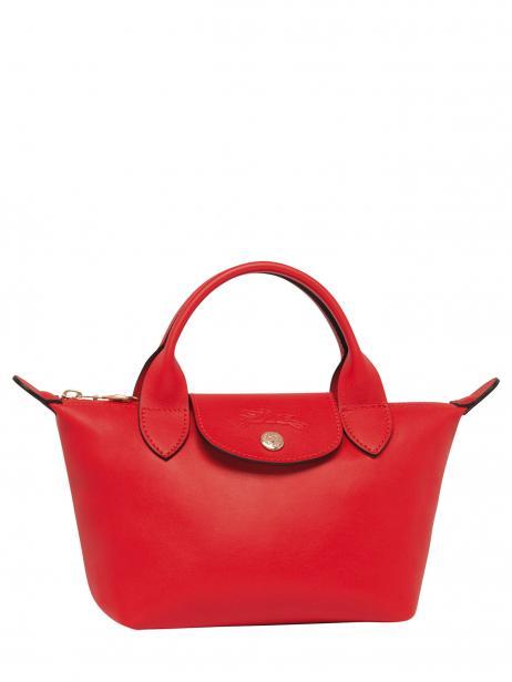 Longchamp Le pliage cuir webbing Sacs porté main Rouge