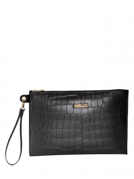 Longchamp Roseau style croco Etui passeport Noir